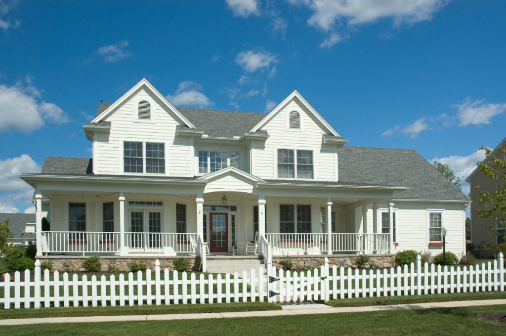 colonial home with colonial style window grids
